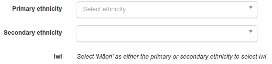 Image of ethnicity selection in signup